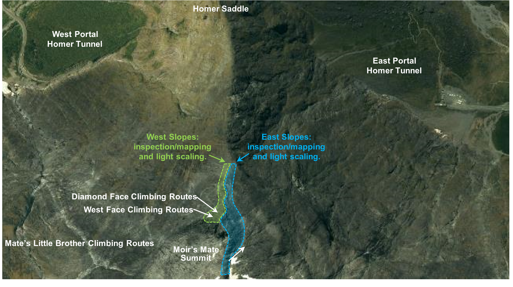 Google Earth image highlighting areas scheduled for rock slope inspections and light scaling