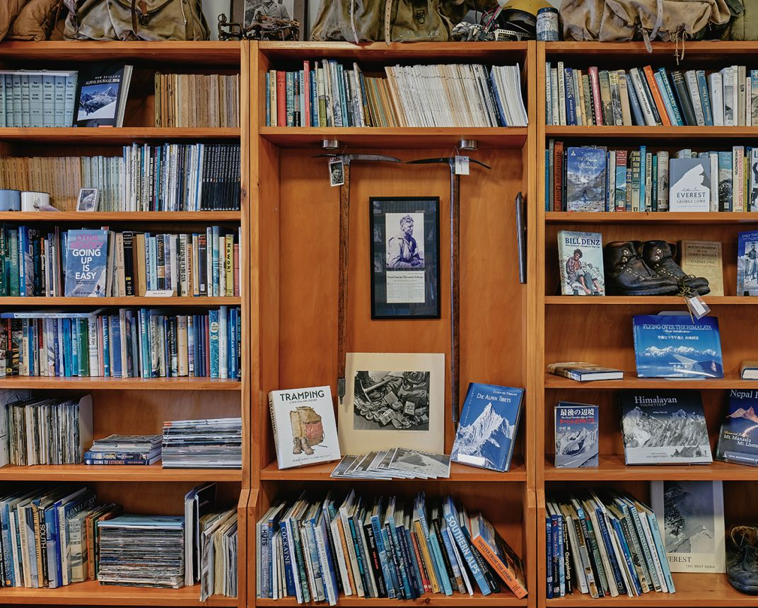 Book shelves in the NZAC library
